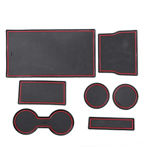 Hoypeyfiy 7 Pcs Set Cup and Center Console Liner Acessories for Tesla Model 3 2017 2018 2019 ()