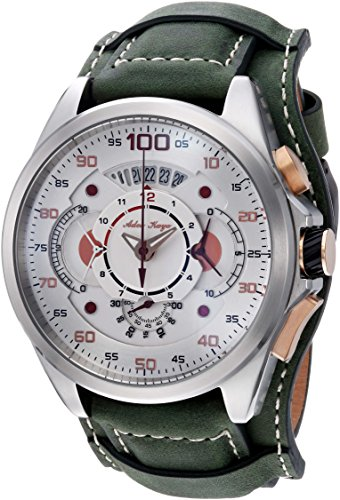 Adee Kaye Men's 'WHIRLLING COLLECTION' Quartz Stainless Steel and Leather Sport Watch, Color:Green (Model: AKE8900-M/LGN-WIDE)
