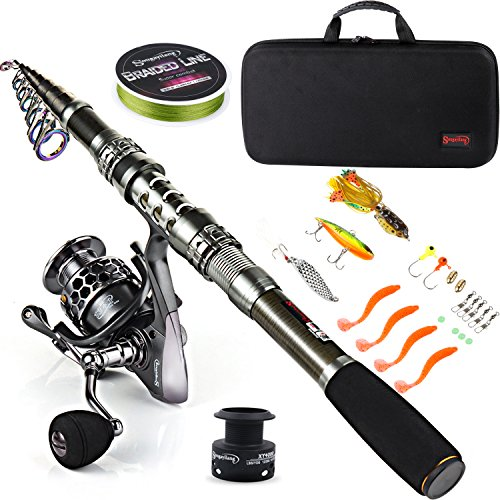 Sougayilang Fishing Rod Combos with Telescopic Fishing Pole Spinning Reels Fishing Carrier Bag for Travel Saltwater Freshwater Fishing-1.8M/5.91FT (Best Beginner Fishing Rod)