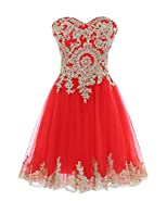 Himoda 2017 Sweetheart Gold Lace Homecoming Dresses Appliques Prom Gowns Short H08