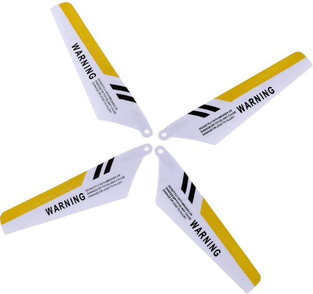 Yellow Set Inner Shaft Main Blades,Tail Decorations,Tail Blade,Balance Bar,Connect Buckle Full Replacement Parts Set for Syma S107 // S107G RC Helicopter