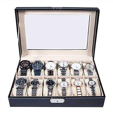 Caja para relojes (piel, con cierre), color negro, negro, 12 compartimentos: Amazon.es: Joyería