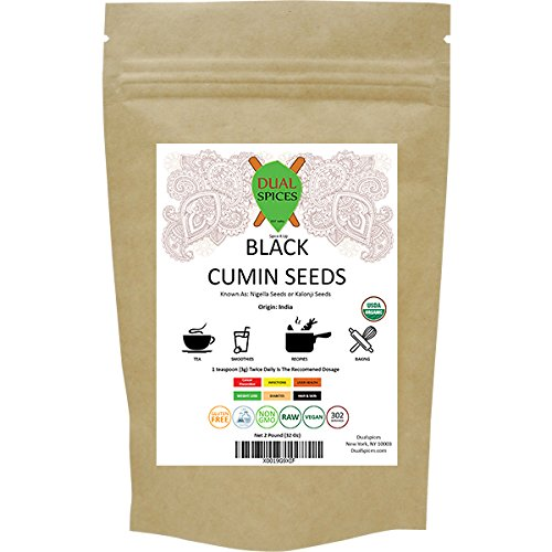 Dualspices Organic Raw Black Cumin Seeds (Nigella Sativa) Kalonji Seeds 2 Lb