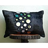Yaoni Handmade Black Lumbar Pillow Cover, Mirror Lumbar Pillow Cover, 12''x20'' Lumbar Pillow Cover, Geometric Contemporary Lumbar Pillow Cover, Rectangle Velvet Lumbar Pillow Cover - Mirror Beauty