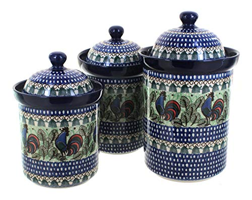 Blue Rose Polish Pottery Rooster Row 3 PC Canister Set