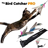 The Bird Catcher Pro - Best Interactive Cat Toy Super Wand Fishing Pole Teaser with Two (2) Feather Refill Replacement Pack like the Original Go Cat or Da Bird! Fun Dancer Dangler Chaser Charmer (for Indoor Kittens Young or Older Cats) to Run Play Chase!