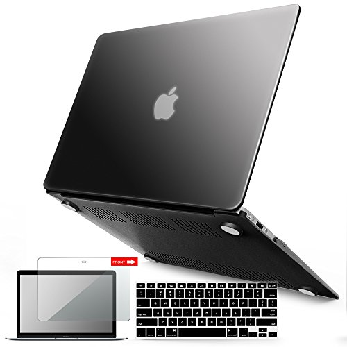 iBenzer-Basic-Soft-Touch-Series-Plastic-Hard-Case-Keyboard-Cover-Screen-Protector-for-Apple-MacBook-Air-13-inch-13-A13691466-Black