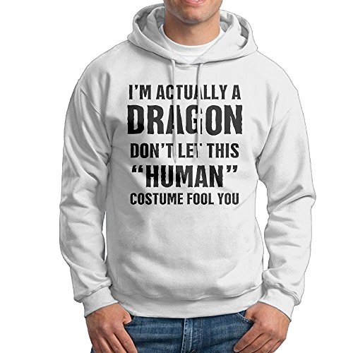 Make Your Own Tank Girl Costume (Fangner White Funny Men's I'm Actually A Dragon Don't Let This Human Costume Fool You Fashion Hoodie Sweater)