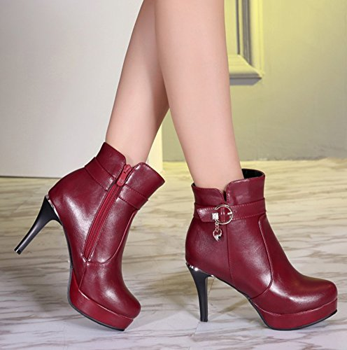 Toe Round Zipper With Booties Heel Women's Ankle Pendant Waterproof SHOWHOW Red High vBIqUx