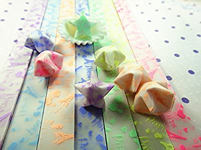 yueton 210 Sheets Glows In The Dark Iron Tower Design Stars Folding Paper - Lucky Wish Star Origami Paper - 7 Different Colors by Random