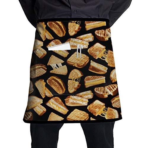 LIN. Durable Polyester Chef Waist Aprons Water Resistant Kitchen Apron with Roomy Pocket - Grilled Cheese Sandwiches for Baking Salon, Kitchen Machine Washable - 21