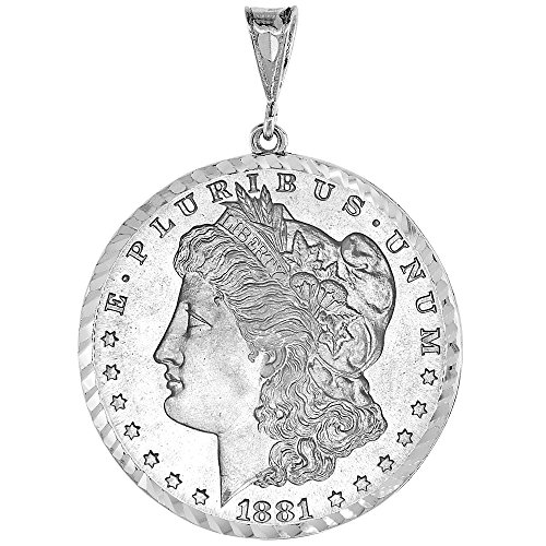 (Sterling Silver Dollar Bezel 38 mm Coins Prong Back Diamond Cut Mexican Olympic One Dollar)