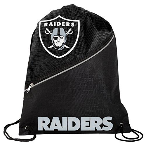 Oakland Raiders High End Diagonal Zipper Drawstring Backpack Gym - Bag Raiders