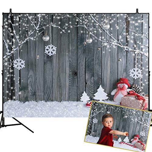 Mehofoto Christmas Photography Backdrop Grey Wood Wall Background Santa Claus Decor 7x5ft Xmas Snowflake Home Party Decor Baby Children Portraits Photo Studio Background