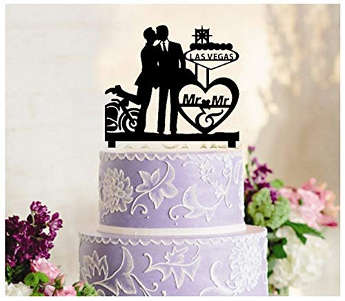 Gay Wedding,Cake Toppers,Cupcake Toppers,Mr and Mr,Beautiful With Kiss,Las Vegas in love ,Groom and Groom silhouette