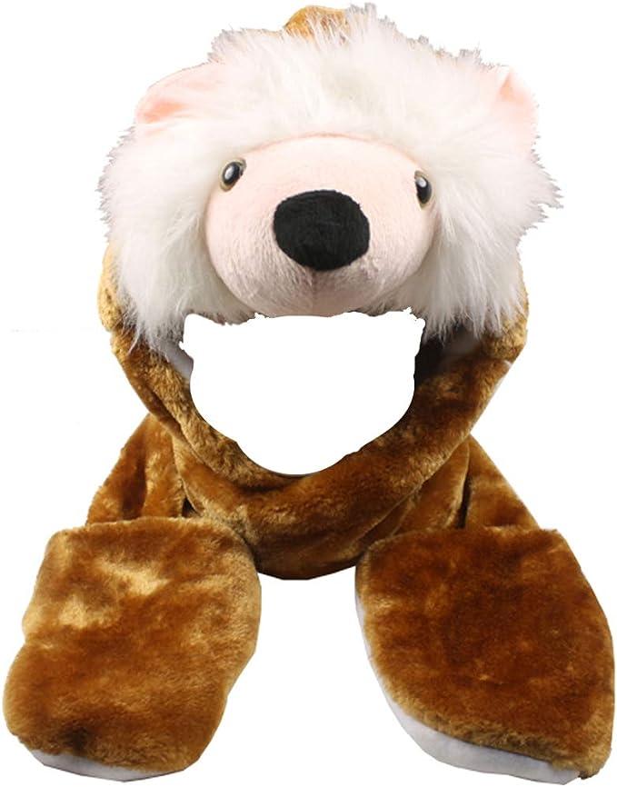 WHITE TIGER PLUSH ANIMAL HAT soft warm earmuff cap head costume dress up hats