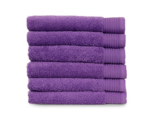 TowelSelections Organic Collection Luxury Towels – 100% Organic Turkish Cotton, Made in Turkey, English Lavender, 6 Hand Towels - Vera Lavender Collection