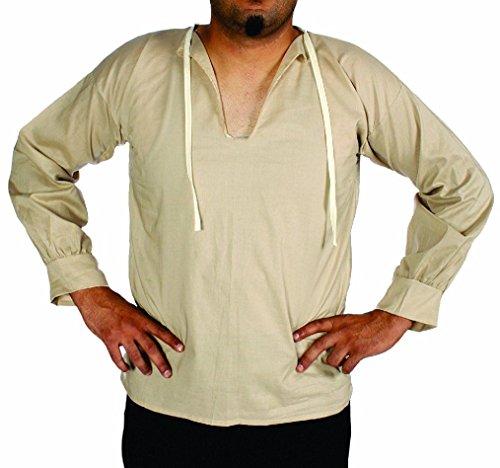 Farmer Girl Costume Makeup (OvedcRay Adult Mens Male Renaissance Muslin Peasant Pirate Costume Shirt Larp Farmer)