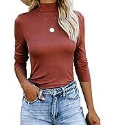 REVETRO Women Casual Long Sleeve Shirts Mock Turtleneck Tops Slim Fit Basic Lightweight Plain T-S...
