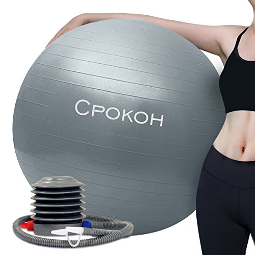 CPOKOH Anti Burst and Slip Resistant Yoga Ball,Swiss Ball,Exercise Ball,Fitness Ball,Gym Ball- Total Body Balance Ball, with Foot Pump (Silver, 65cm)