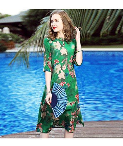 Printed Casual Silk Half Sleeve Dress Women`S Dresses cotyledon Split q1w6xnPBWE