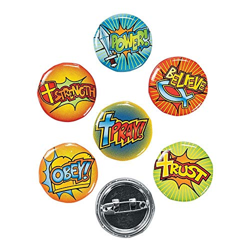 Fun Express Fantastic Faith Mini Buttons Novelty (4 Dozen) -