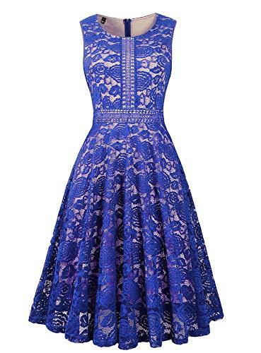 (Twinklady Women's Vintage Full Lace Sleeveless Big Swing A-Line Dress (Royal Blue, XXL))