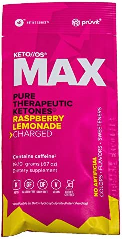 KETO//OS MAX Raspberry Lemonade CHARGED N8tive Series, BHB Beta Hydroxybutyrates Exogenous Ketones Supplements for Fat Loss, Workout Energy Boost and Weight Management through Fast Ketosis, 20 Sachets 8