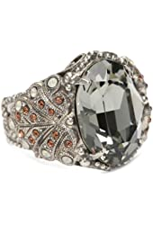 "Sorrelli ""Concrete Jungle"" Swarovski Crystal Oval Black Diamond On Ornate Adjustable Band Ring"
