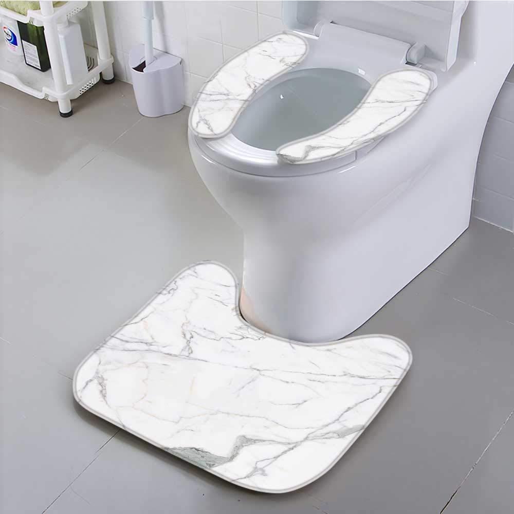 Jiahonghome Toilet seat Cushion Marble Texture White w Machine-Washable