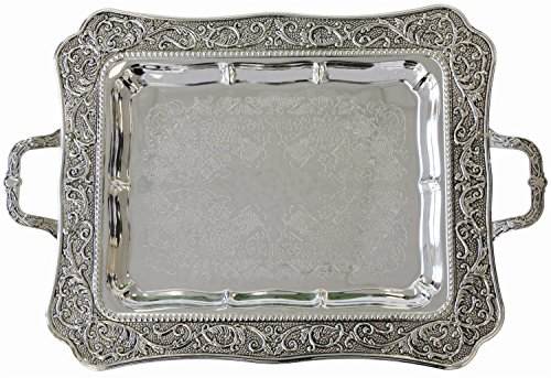 Silver Plated Giftware - Silver Plated Shabbat Candlestick Tray with Handles 17 Inches X 13.5 Inches