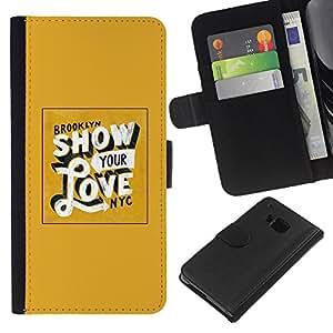 KingStore / Leather Etui en cuir / HTC One M7 / Muestre su amor del oro amarillo de Nueva York
