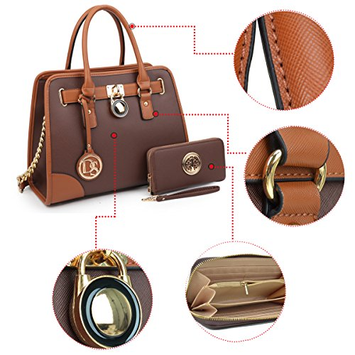 Padlock Women's Designer Bags Coffee W Top 6892 Handle Handbag Handbags Purse Satchel Belted Wallet 02 matching Simple Color Shoulder Dasein Matching Bag wtdBq5t