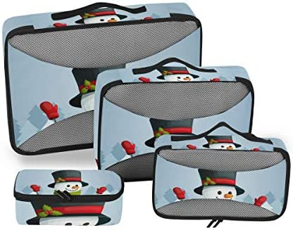 メリークリスマス雪だるま荷物パッキングキューブオーガナイザートイレタリーランドリーストレージバッグポーチパックキューブ4さまざまなサイズセットトラベルキッズレディース