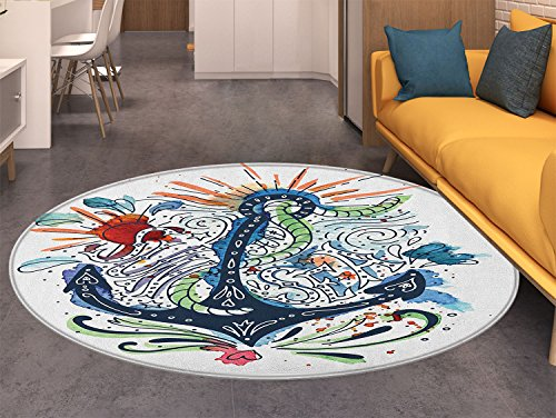 Anchor Round Rugs for Bedroom Ornate Ship Anchor with Sun Heart and Sea Lettering Mooring Tourists Naval Summer Design Circle Rugs for Living Room Multi