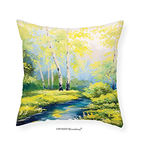 Pastoral Collection (VROSELV Custom Cotton Linen Pillowcase Country Decor Collection Pastoral Paint of a Forest in the Spring Time with Fresh Colored Leaves and Trees Art Bedroom Living Room Dorm Green Blue 16