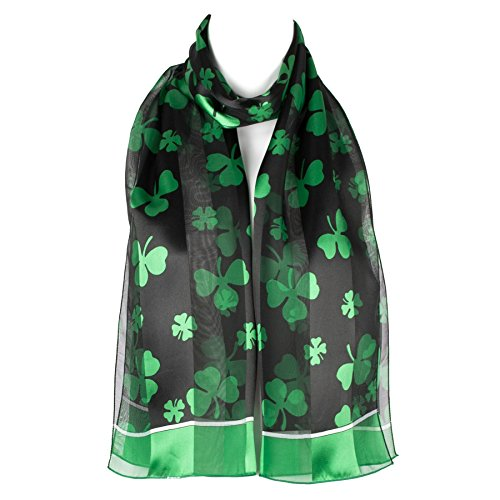 Shamrock Print Chiffon Satin Ladies Womens Scarf Shawl Wrap