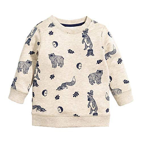 KIDSALON Little Boys' Cotton Crewneck Long Sleeve Cartoon T-Shirt (6T, Bear&Fox&Hedgehog) for $<!--$13.49-->