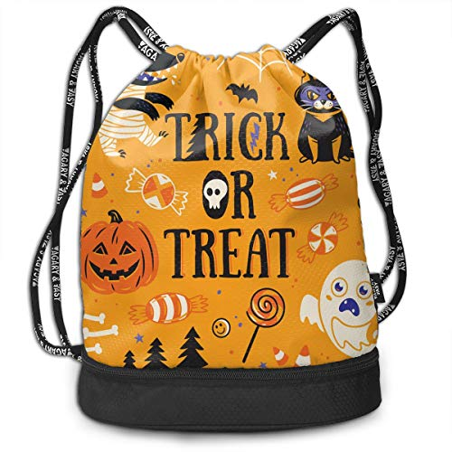 Men & Women Drawstring Backpack Theft Proof Lightweight Beam Bag, School Rucksack - Happy Halloween Party Patterns Waterproof Backpack Soccer Basketball Bag]()