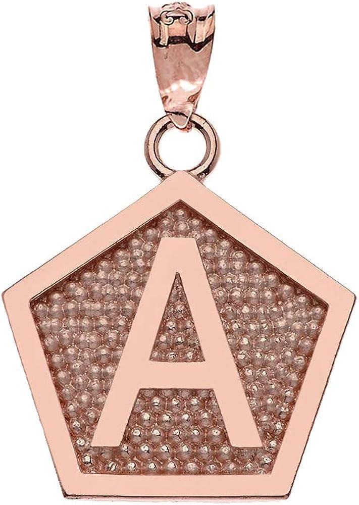 LA BLINGZ 10K Rose Gold Letter A Initial Pentagon Pendant Necklace