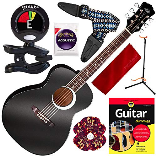 Luna Aurora Borealis 3/4 size Acoustic Guitar Black Pearl with Guitar for Dummies Book and Stand Deluxe Bundle