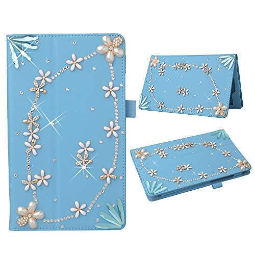 Photo - KAKA(TM) 3D Handmade Rhinestone Crystal PU Leather Stand Folding Protective Tablet Case Cover for Amazon Kindle Fire HD 8 Inch Blue Flower