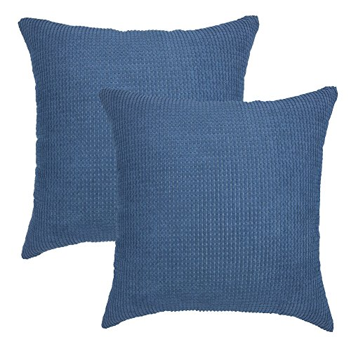 YOUR SMILE Soft Solid Throw Pillow Covers Cases for Couch Sofa Bed, Comfortable Supersoft Corduroy Corn Striped Both Sides, 18 X 18 Inches, Set of 2,Navy (Pillows Throw Colorful Cheap)