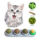 OOOUSE Catnip Balls for Cats,Cat Catnip Toys/Cat Playing Chewing Toys,3Pcs Natural Catnip Ball with Sugar Ball,Self-Adhesive Rotated Catnip Ball,Promotes Interactive Play for Cats of All Ages