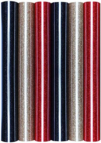 Juego de 5 láminas de transferencia con purpurina y purpurina A4 para planchar sobre textiles, perfectas para plottern, color 6 unidades de Alemania.: Amazon.es: Oficina y papelería