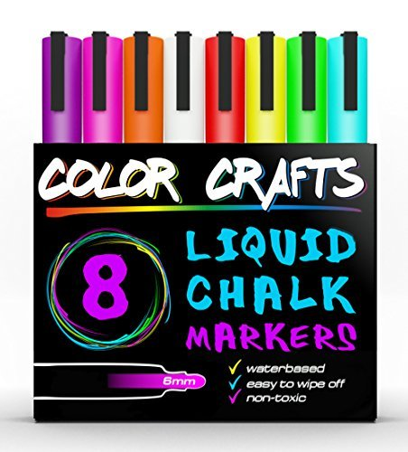 Liquid Chalk Markers 8 Pack Set - Bright Neon Colors - Perfect For Kids, Adults, Art, Windows, Glass, Menus, Bistros, Chalk Boards - 6mm Reversible Fine Tip - Genuine Artist Quality (Sidewalk Chalk Container compare prices)