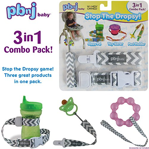 Stop The Dropsy 3-in-1 Pack for Sippy Cup, Pacifier, Toys (Gray Chevron)
