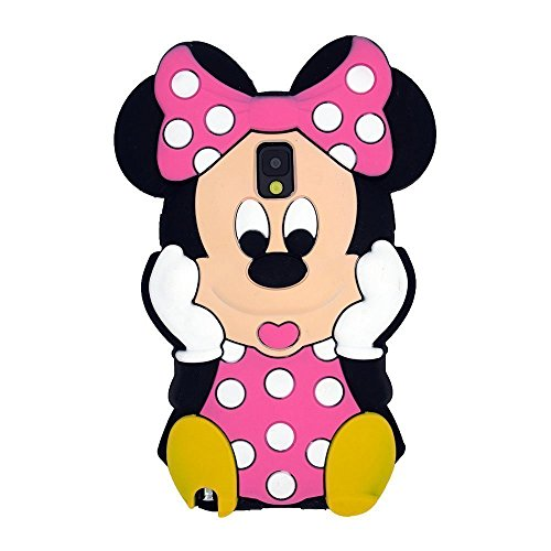 Note 4 Case,Galaxy Note 4 Minnie Mickey Case,Bat King 3D Cute Cartoon Mouse Minnie Soft Silicon Gel Rubber Case Cover Skin for Samsung Galaxy Note 4 N910a/N910T/N910V(Pink Minnie)