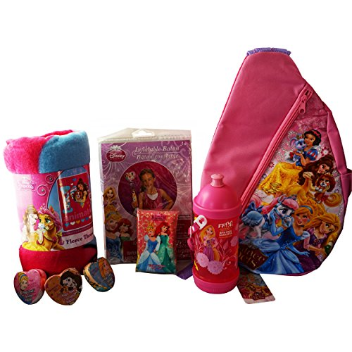 Disneyland Ready Princess Bundle (6 Quality Items): Princess & Pets' Palace Shoulder Bag; Large Warm Fleece Throw; BPA-Free Sip-N-Snack Canteen; Inflatable Baton; Magic Towel; Wallet Tissue Pocket - Disneyland Google