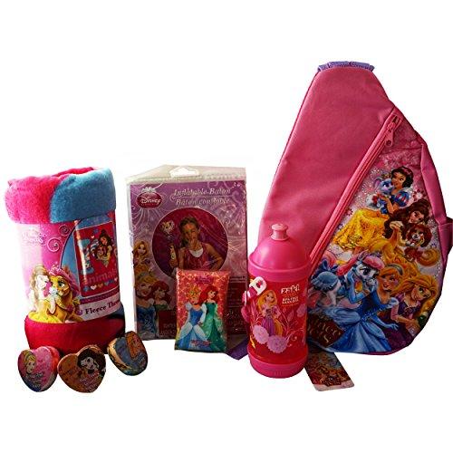 Disneyland Ready Princess Bundle (6 Quality Items): Princess & Pets' Palace Shoulder Bag; Large Warm Fleece Throw; BPA-Free Sip-N-Snack Canteen; Inflatable Baton; Magic Towel; Wallet Tissue Pocket Bag